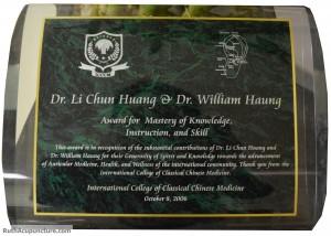 Dr Li Chun Huang Chinese Auricular medicine reward