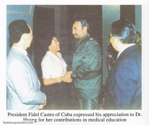 The president of Cuba Fidel Castro express his appreciation to Dr Huang for her auricular medicine treatment