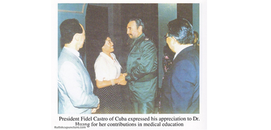 The president of Cuba Fidel Castro greet Dr Huang for her Auricular Medicine treatment